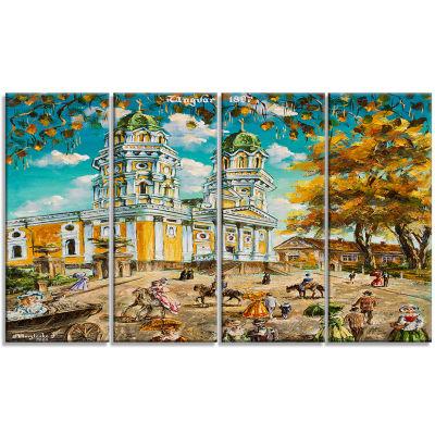 Designart Old Church Landscape Art Print Canvas -4 Panels
