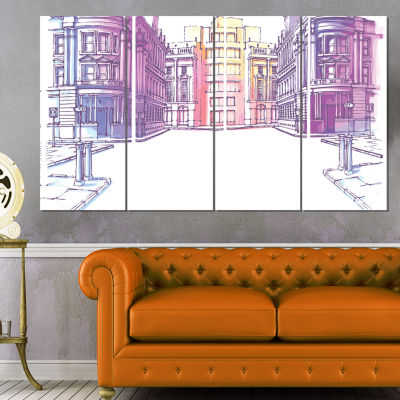 Old City Street Cityscape Painting Canvas Print -4 Panels