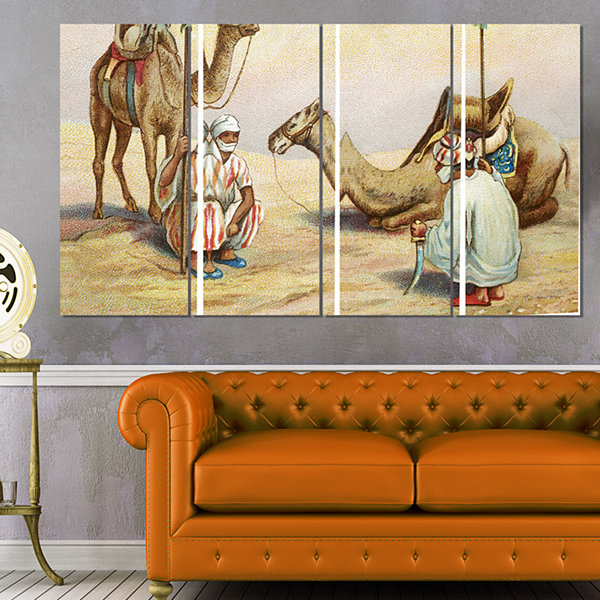 Old Colonial Illustration Contemporary Canvas ArtPrint - 4 Panels