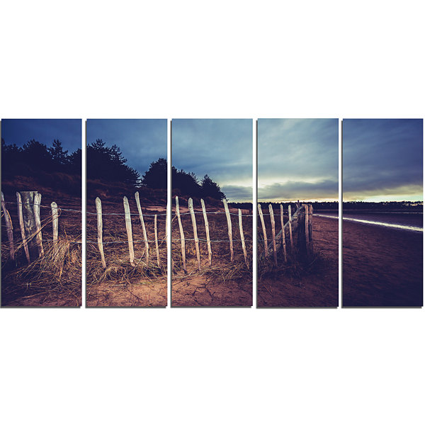 Old Fence on Beach At Sunset Landscape Canvas ArtPrint - 5 Panels
