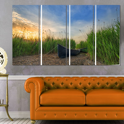 Designart Old Fisher Boat Near Lake Landscape Photography Canvas Print - 4 Panels