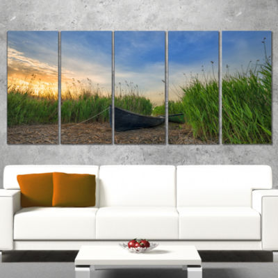 Designart Old Fisher Boat Near Lake Landscape Photography Canvas Print - 5 Panels