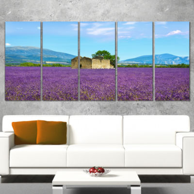 Designart Old House and Tree in Lavender Field Oversized Landscape Wall Art Print - 4 Panels