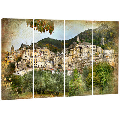 Designart Old Italian Villages Landscape Photography CanvasArt Print - 4 Panels