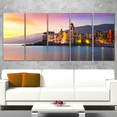 Designart Old Mediterranean Town At Sunrise LargeSeashore Canvas Print - 5 Panels