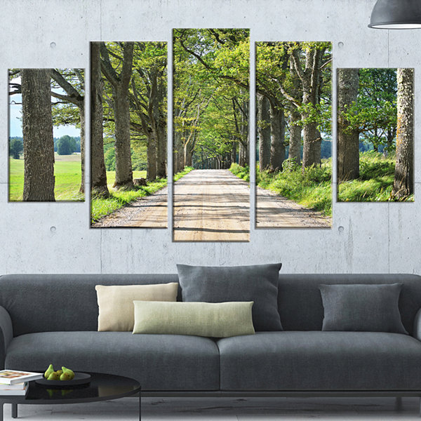 Designart Old Road Through Alley Landscape Photography Wrapped Canvas Art Print - 5 Panels