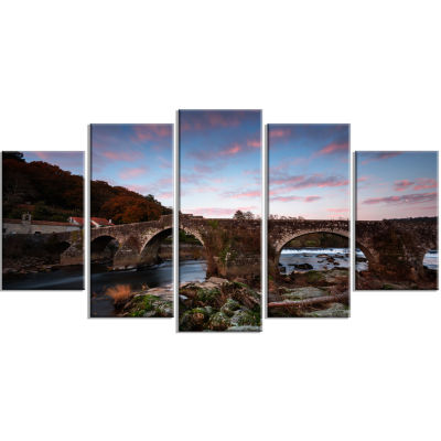 Old Roman Bridge in Spain Landscape Photo Canvas Art Print - 4 Panels