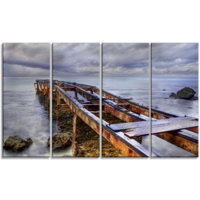 Old Rusty Pier in Cloudy Day Seashore Photo CanvasArt Print - 4 Panels