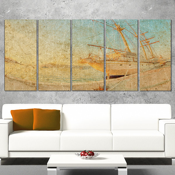 Designart Old Sailing Ship in Sunlight Extra LargeSeascapeArt Canvas - 5 Panels