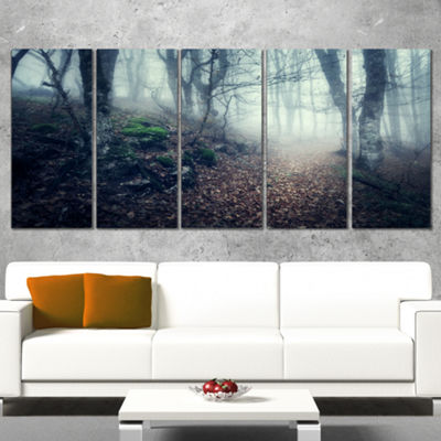 Designart Old Style Path in Forest Landscape Photography Canvas Print - 5 Panels
