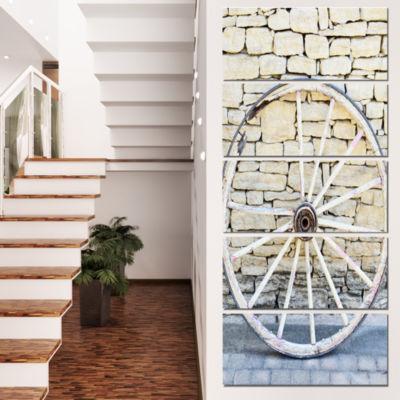 Designart Old Vintage Broken Wood Wheel Extra Large Landscape Canvas Art - 5 Panels