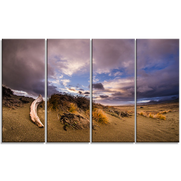 Designart Old Wooden Trunk in The Sunset Modern Seascape Canvas Artwork - 4 Panels