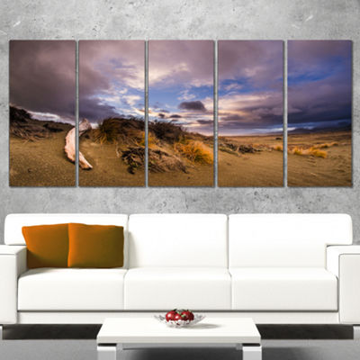 Designart Old Wooden Trunk in The Sunset Modern Seascape Wrapped Canvas Artwork - 5 Panels