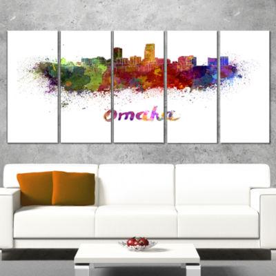 Designart Omaha Skyline Cityscape Canvas Art Print- 5 Panels