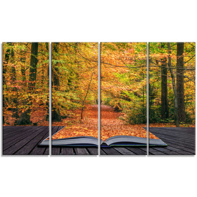 Designart Open Book in Autumn Landscape Canvas ArtPrint - 4Panels