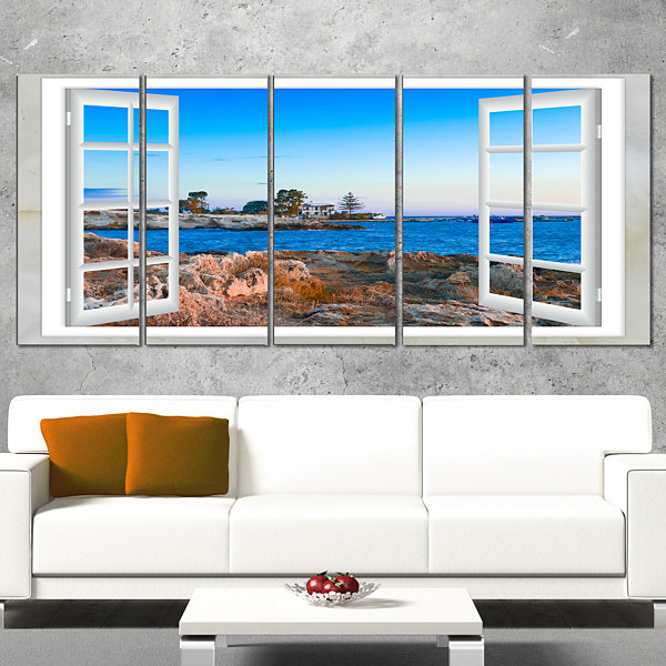 Designart Open Window To Blue Seashore Oversized Landscape Wall Art Print - 4 Panels