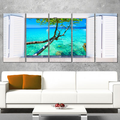 Designart Open Window To Gorgeous Seashore ModernSeascape Wrapped Canvas Artwork - 5 Panels