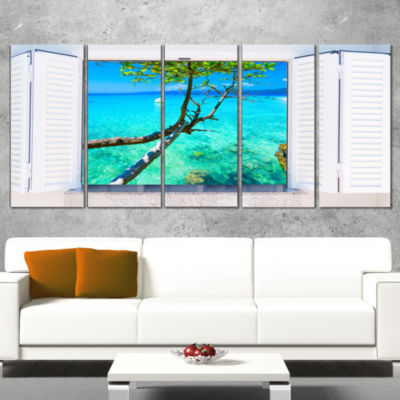 Designart Open Window To Gorgeous Seashore ModernSeascape Canvas Artwork - 5 Panels