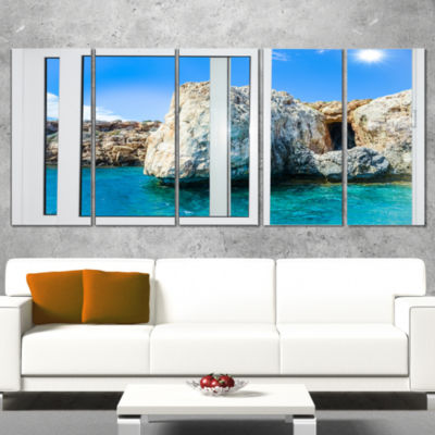 Designart Open Window To Rocky Sunny Ocean Extra Large Seashore Canvas Art - 4 Panels