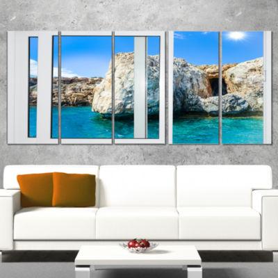 Designart Open Window To Rocky Sunny Ocean Extra Large Seashore Wrapped Canvas Art - 5 Panels