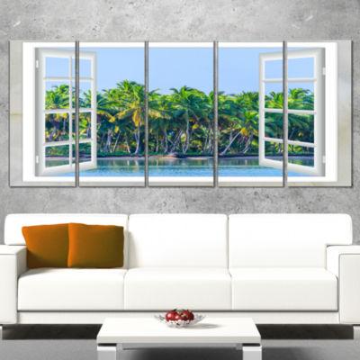 Designart Open Window To Seashore Palms Extra Large SeashoreWrapped Canvas Art - 5 Panels