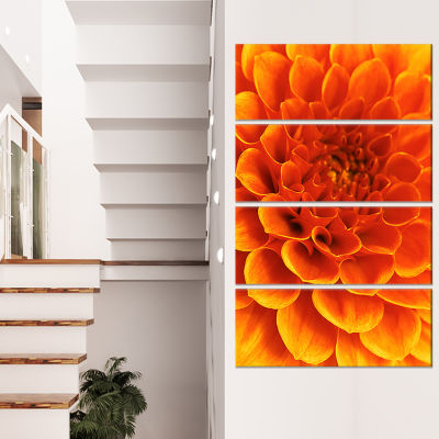 Orange Abstract Flower and Petals Floral Canvas Art Print - 4 Panels