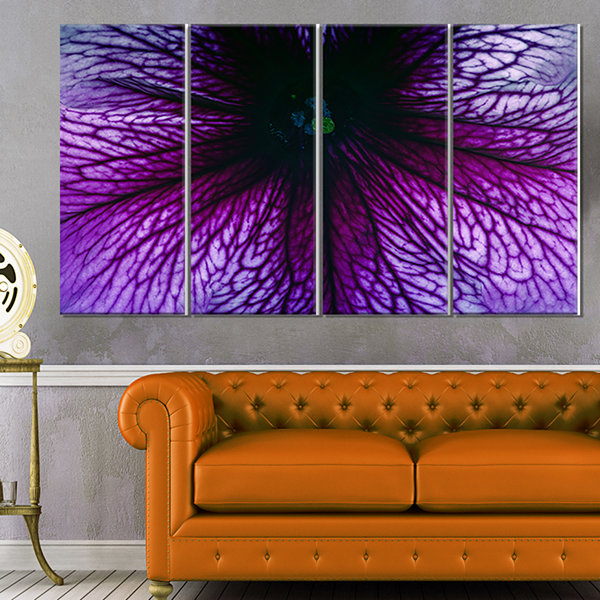 Designart Orange Abstract Flower Petals Floral Canvas Art Print - 4 Panels