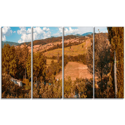Designart Orange Autumn Mountains Tuscany Landscape Print Wall Artwork - 4 Panels