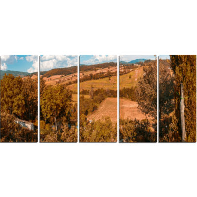 Orange Autumn Mountains Tuscany Landscape Print Wall Artwork - 5 Panels
