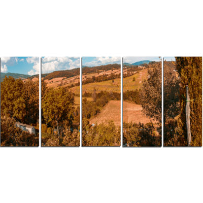 Designart Orange Autumn Mountains Tuscany Landscape Print Wall Artwork - 5 Panels