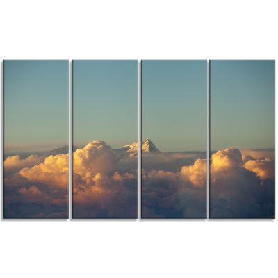 Orange Clouds Colorful Sunset in Sky Extra Large Wall Art Landscape - 4 Panels