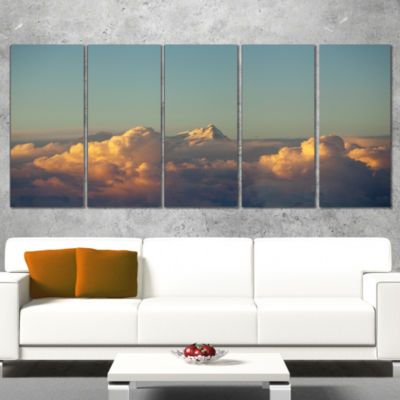 Designart Orange Clouds Colorful Sunset in Sky Extra Large Wall Art Landscape - 5 Panels