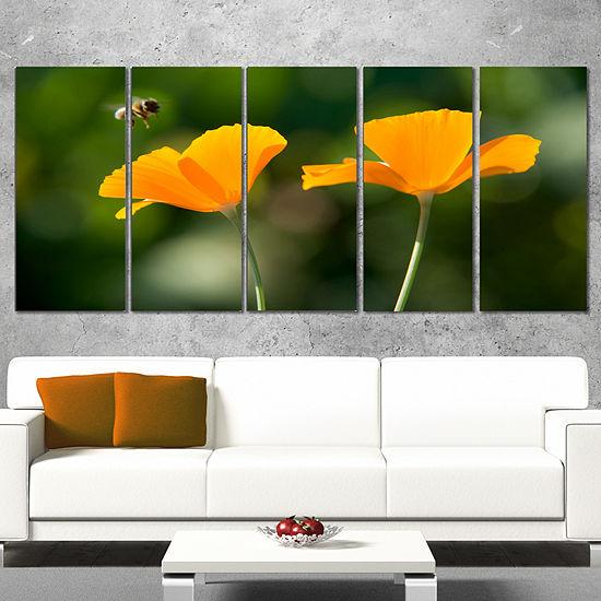 Designart Orange Flowers and Flying Bee Floral Canvas Art Print - 4 Panels