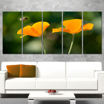 Designart Orange Flowers and Flying Bee Floral Canvas Art Print - 5 Panels