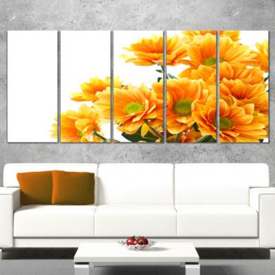 Designart Orange Flowers Chrysanthemum Floral Wrapped CanvasArt Print - 5 Panels