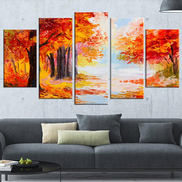 Designart Orange Forest in Autumn Landscape Art Print Canvas- 5 Panels