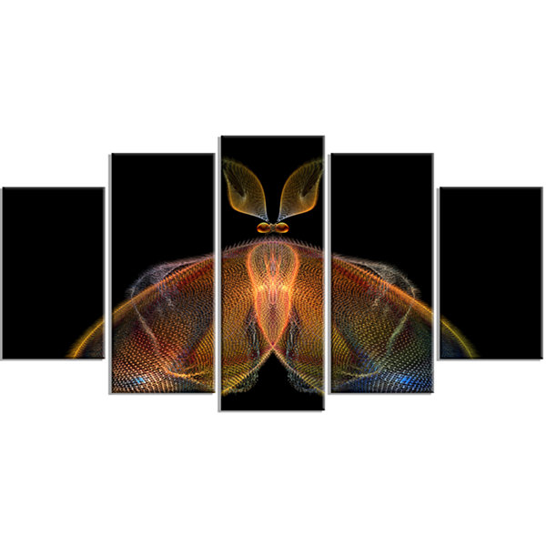 Designart Orange Fractal Butterfly in Dark Abstract Canvas Art Print - 4 Panels