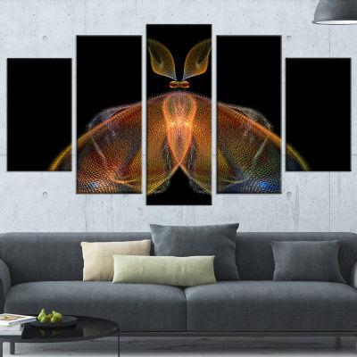 Designart Orange Fractal Butterfly in Dark Contemporary Canvas Art Print - 5 Panels