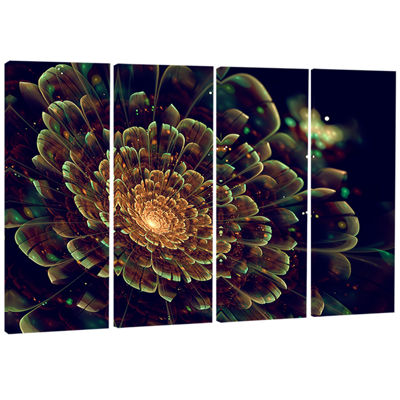 Designart Orange Metallic Fractal Flower AbstractPrint on Canvas - 4 Panels