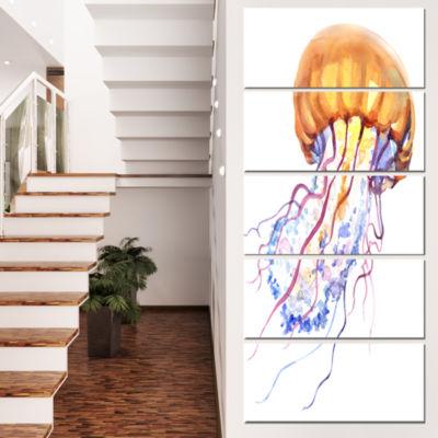 Designart Orange Ocean Water Jellyfish Animal Canvas Art Print - 4 Panels
