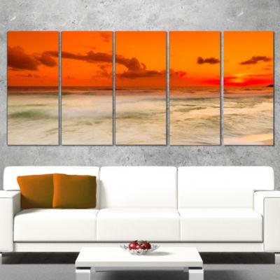 Designart Orange Sky and Wide Sandy Beach Extra Large Seashore Wrapped Canvas Art - 5 Panels