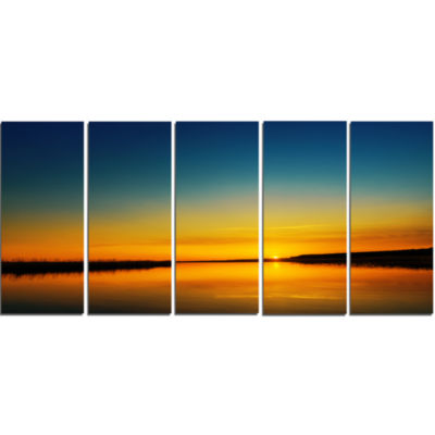 Orange Sunset Over River Skyline Photography Canvas Art - 4 Panels