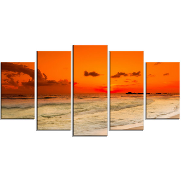 Designart Orange Sunset Over Sea Seascape Photography CanvasArt Print - 4 Panels