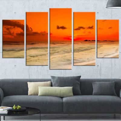Designart Orange Sunset Over Sea Seascape Photography CanvasArt Print - 5 Panels