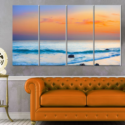 Orange Sunset Panorama Photography Canvas Art Print - 4 Panels