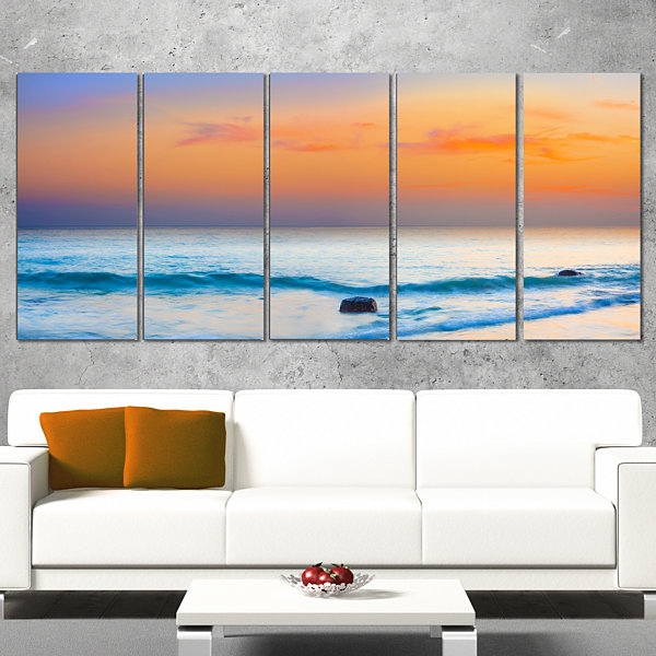 Designart Orange Sunset Panorama Photography Canvas Art Print - 5 Panels