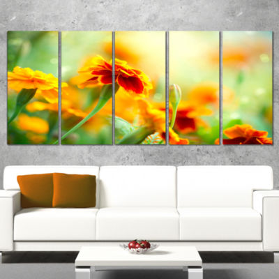 Designart Orange Tagetes Marigold Flowers Floral Canvas ArtPrint - 4 Panels