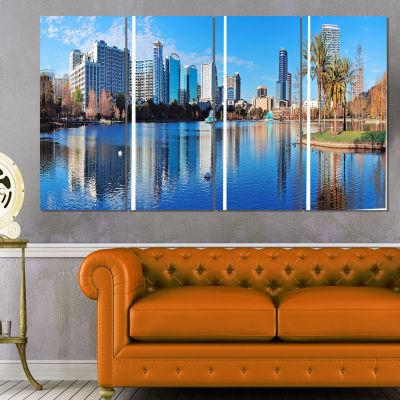 Designart Orlando Morning Cityscape Photo Canvas Art Print -4 Panels