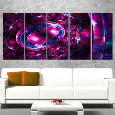 Designart Ornate Sparkle Violet and Blue AbstractCanvas ArtPrint - 5 Panels