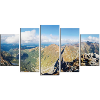 Designart Ostry Rohac and Volovec At Tatras Landscape Wrapped Canvas Art Print - 5 Panels